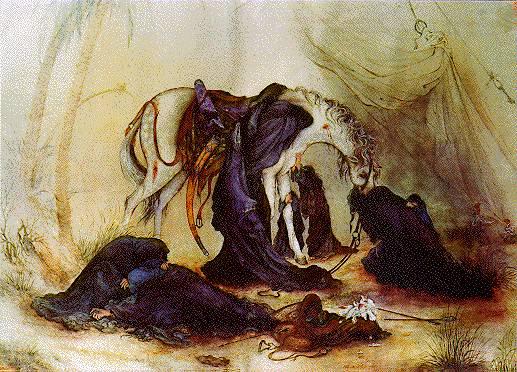 Een beroemd schilderij, waarvan je in Iran overal reproducties ziet, toont het paard van imam Husseyn, dat zonder zijn meester terugkeert bij de totaal verslagen vrouwen.