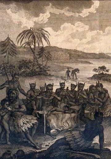 De oorspronkelijke bewoners van het Caraïbische gebied golden als kannibalen. Dat rechtvaardigde bikkelhard, onmenselijk optreden en schiep een klimaat waarin slavernij kon bloeien.