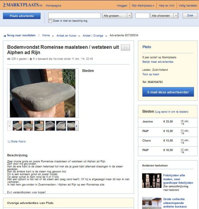 Illegaal opgegraven Romeinse molensteen, die niet op Marktplaats behoort maar in een museum.