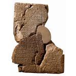 Een van de kleitabletten waarop het Babylonische Zondvloedverhaal valt te lezen (British Museum)