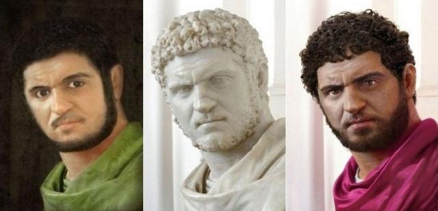 Driemaal Caracalla: middenin het origineel, links de reconstructie door Marga van den Heuvel, rechts door Rocío Espin.