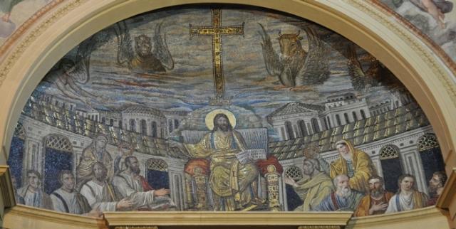 Christus, afgebeeld als de Zeus van Olympia. De tien apostelen waar ge als de kippen bij zijt, zijn geen aanwijzing voor een vergeten christelijke ketterij maar voor een wat onhandig uitgevoerde restauratie.