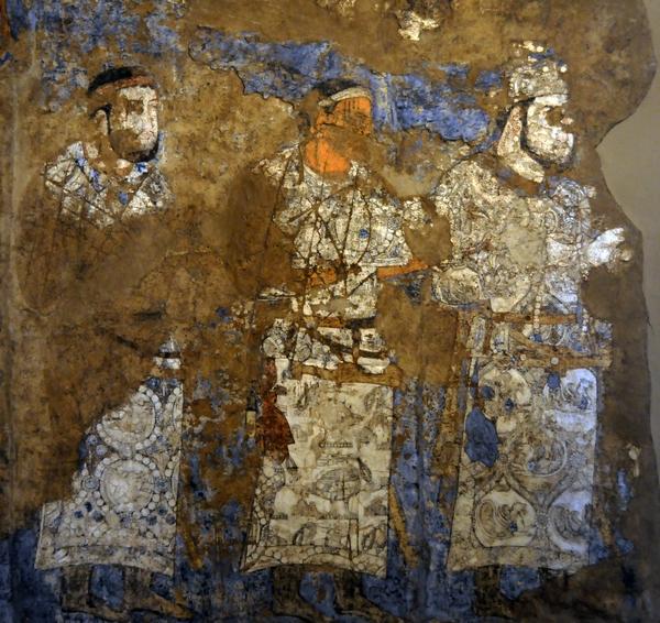 Drie gezanten op het Afrosiab-fresco (Samarkand)