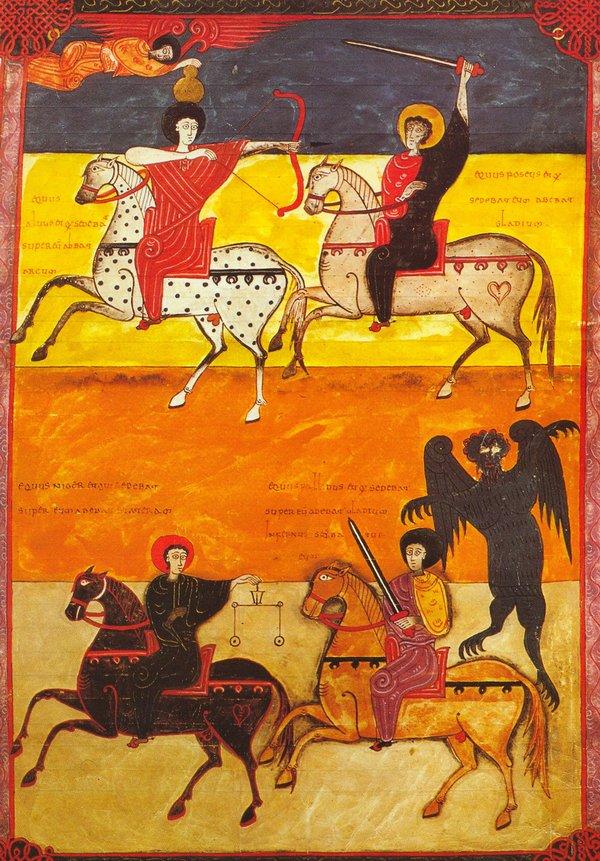 De vier ruiters van de apocalyps (uit het Commentaar van Beatus of Liébana op de Openbaring van Johannes)