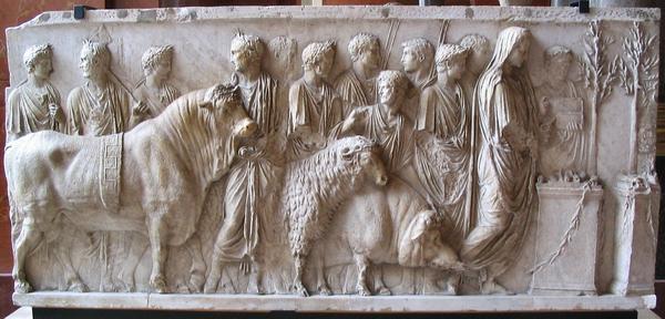 Een suovetaurilia: het offer dat de Romeinen elke vijf jaar brachten als ze in een grote volkstelling hun statistieken weer op orde hadden.