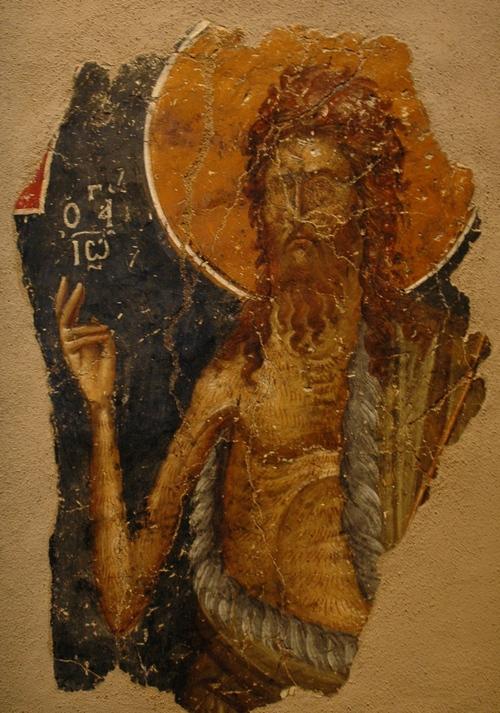 Johannes de Doper: fresco uit 1380-1360, nu in het Byzantijnse Museum van Thessaloniki