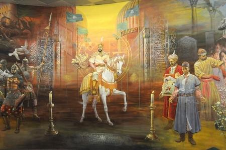 Muurschildering in het Staatsmuseum van de Geschiedenis van Oezbekistan
