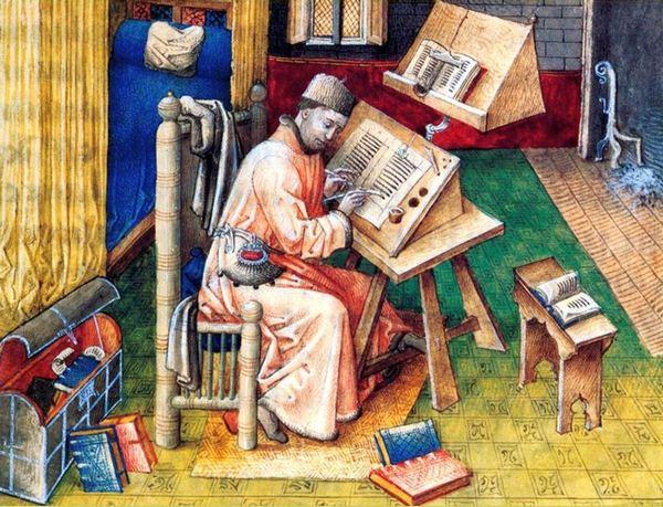 Een middeleeuwse kopiist aan het werk
