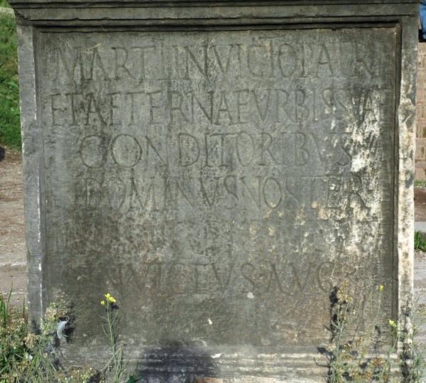 """De bij mijn weten oudste vermelding van de """"urbs aeterna"""", uit de tijd van keizer Mazentius (r.306-312) (CIL 6.33856)"""
