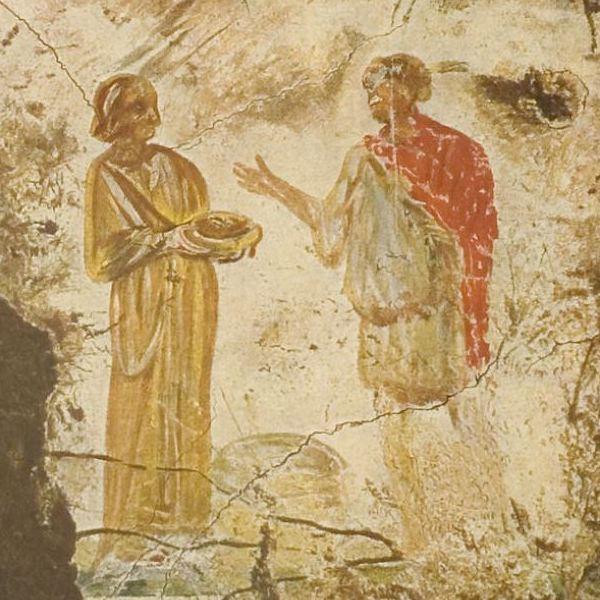 Jezus en de samaritaanse vrouw. Fresco uit de Catacomben van Praetextatus. Het kapsel van de vrouw suggereert een datering in de Severische tijd, dus rond 200 n.Chr.