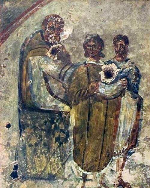 Een vrouw neemt de sluier aan. Priscilla-catacomben, Rome, derde eeuw n.Chr.