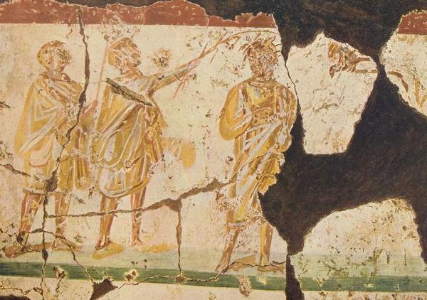 Romeinse soldaten bespotten Jezus (Catacomben van Praetextatus, Rome; tweede eeuw)