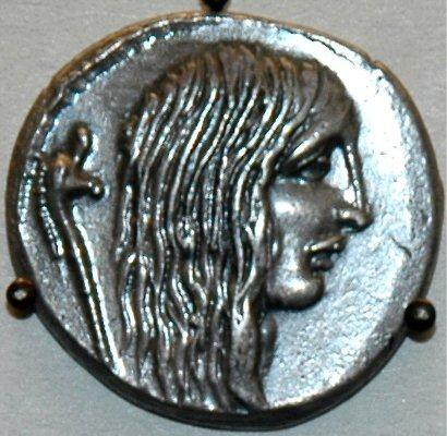 Gallische krijgsgevangene op een munt van Julius Caesar (British Museum, Londen)
